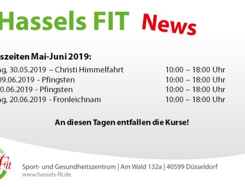 Öffnungszeiten Mai-Juni 2019